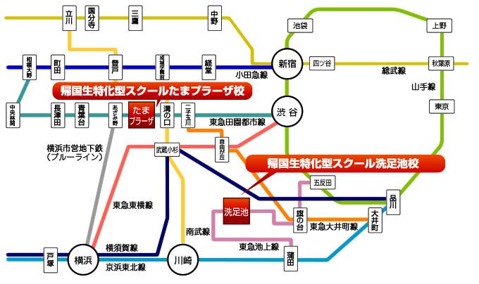 JOBA帰国子女特化型スクール 路線図